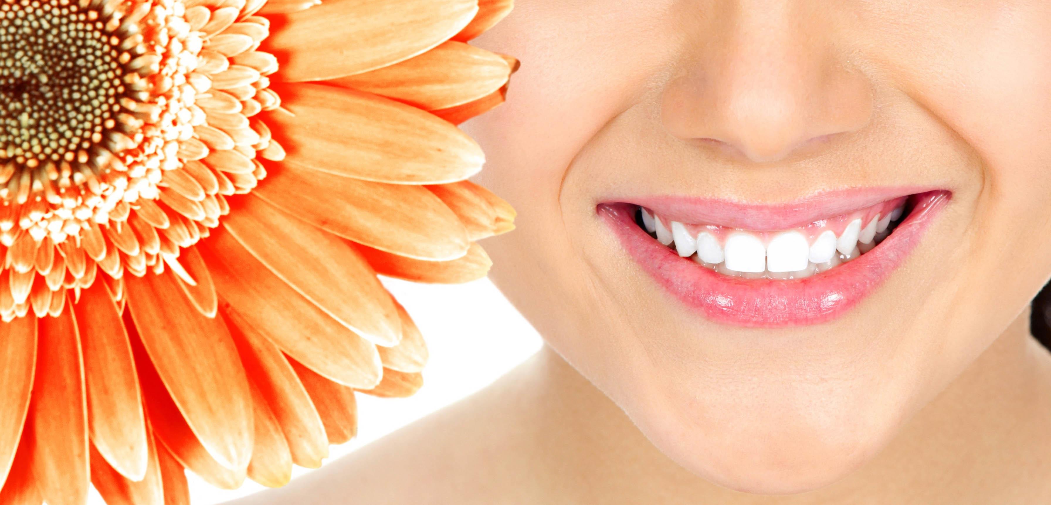ästhetisches Lächeln einer jungen Frau mit Blume